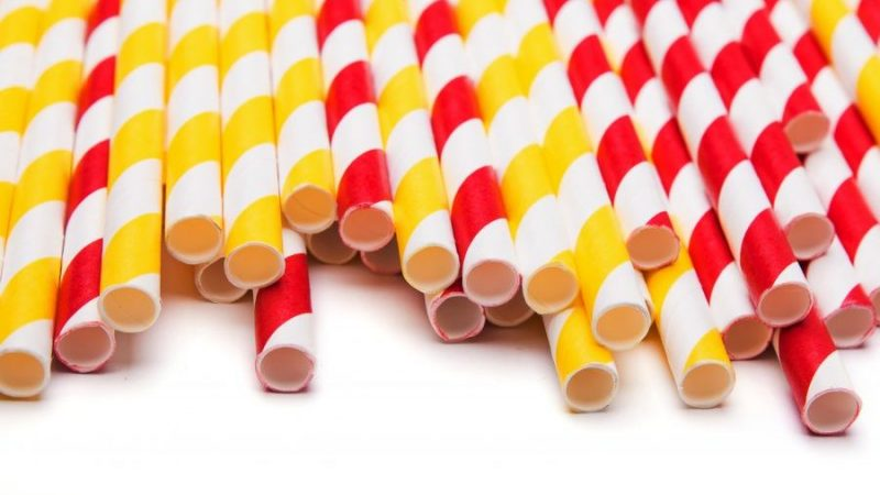 Yellow and red paper straws
