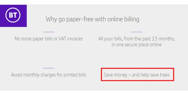 BT uses misleading environmental claims to support e-billing