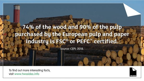 Paper Fact 17: The EU pulp and paper industry source FSC and PEFC certified pulp